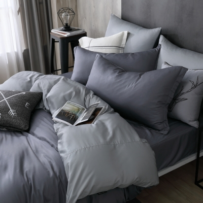 OLIVIA TWINS 藍灰X灰 加大雙人床包兩用被套四件組 MOC莫代爾棉 台灣製