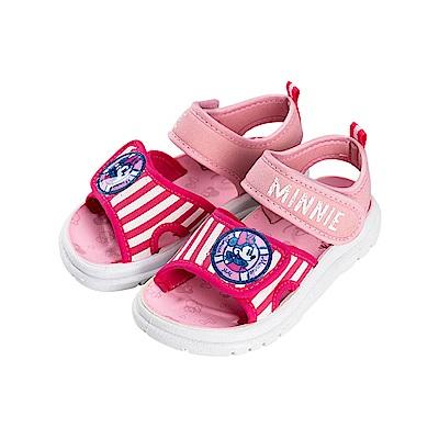 迪士尼童鞋 米妮 雙魔鬼氈彈性休閒涼鞋-粉