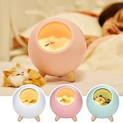 半島良品 療癒小貓小寵屋USB充電LED小夜燈 (3款)
