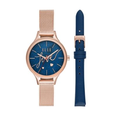ELLE閃耀愛情星空套錶-藍X玫瑰金(ELL27002)/33mm