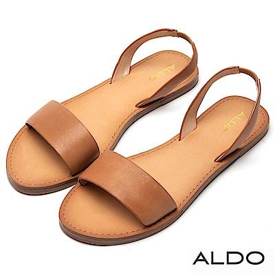 ALDO 原色真皮寬版一字拉帶式平底涼鞋~都會焦糖