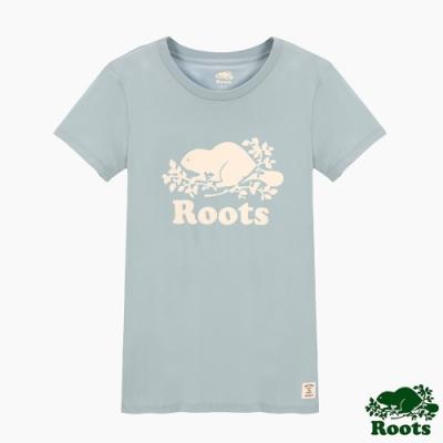 女裝Roots- 有機棉經典logo窄版短袖T恤-藍色