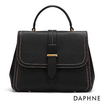 達芙妮DAPHNE-撞色車線掀蓋手提側背包-黑