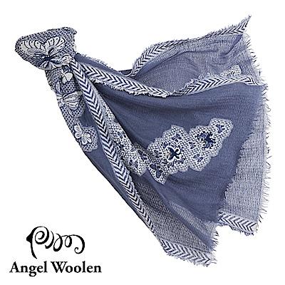 【Angel Woolen】蝶舞印度手工刺繡羊毛披肩-藍