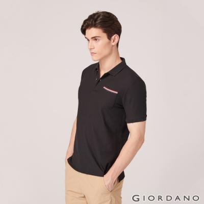 GIORDANO 男裝素色織帶口袋POLO衫-09 標誌黑