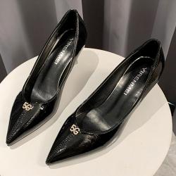KEITH-WILL時尚鞋館 韓國設計尋花問柳水鑽典雅細跟鞋-黑
