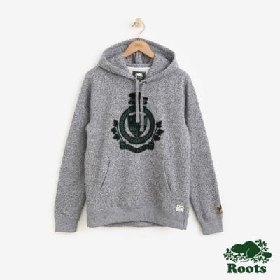 ROOTS男裝-周年系列刷毛家徽連帽上衣-灰色