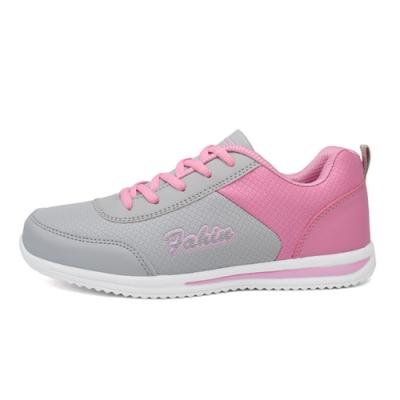 韓國KW美鞋館-鞋輕甜美流線英文街頭耐折跑步鞋 粉紅