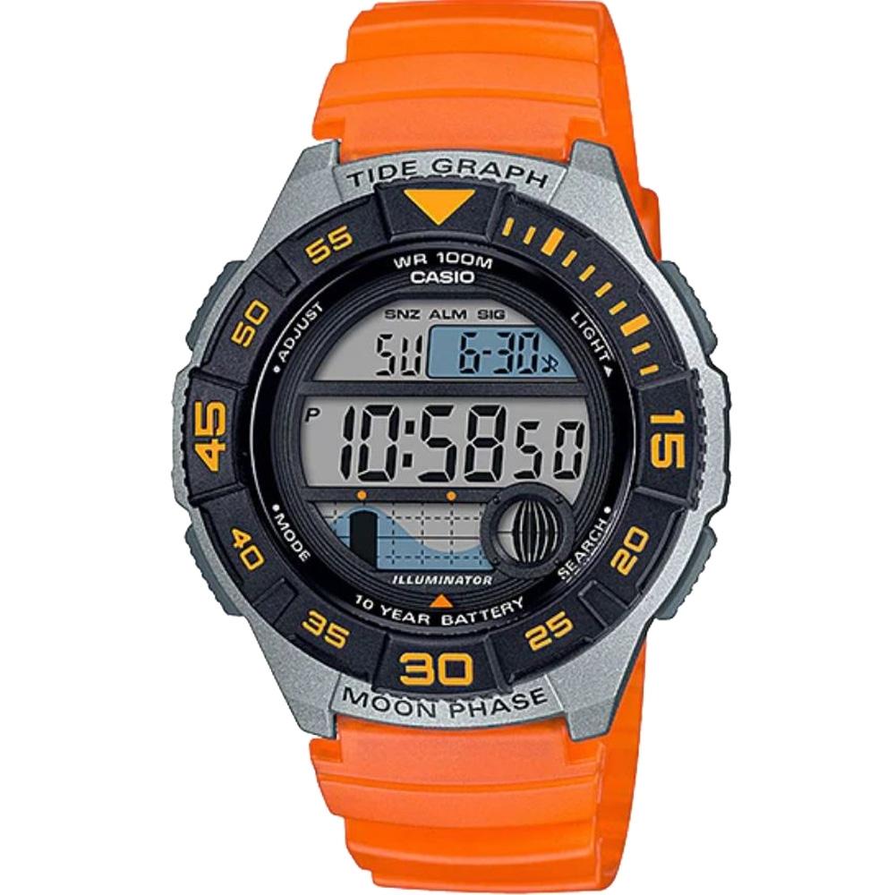 CASIO 大錶面輕量型運動電子錶-橘(WS-1100H-4A)/43mm