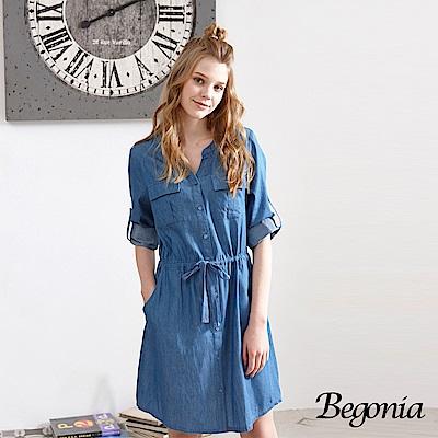 Begonia 開襟綁帶七分袖牛仔洋裝(共兩色)