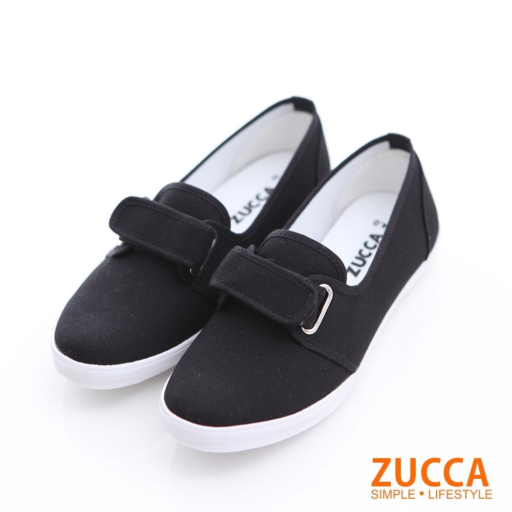 ZUCCA-素面魔鬼氈平底鞋-黑-z6318bk