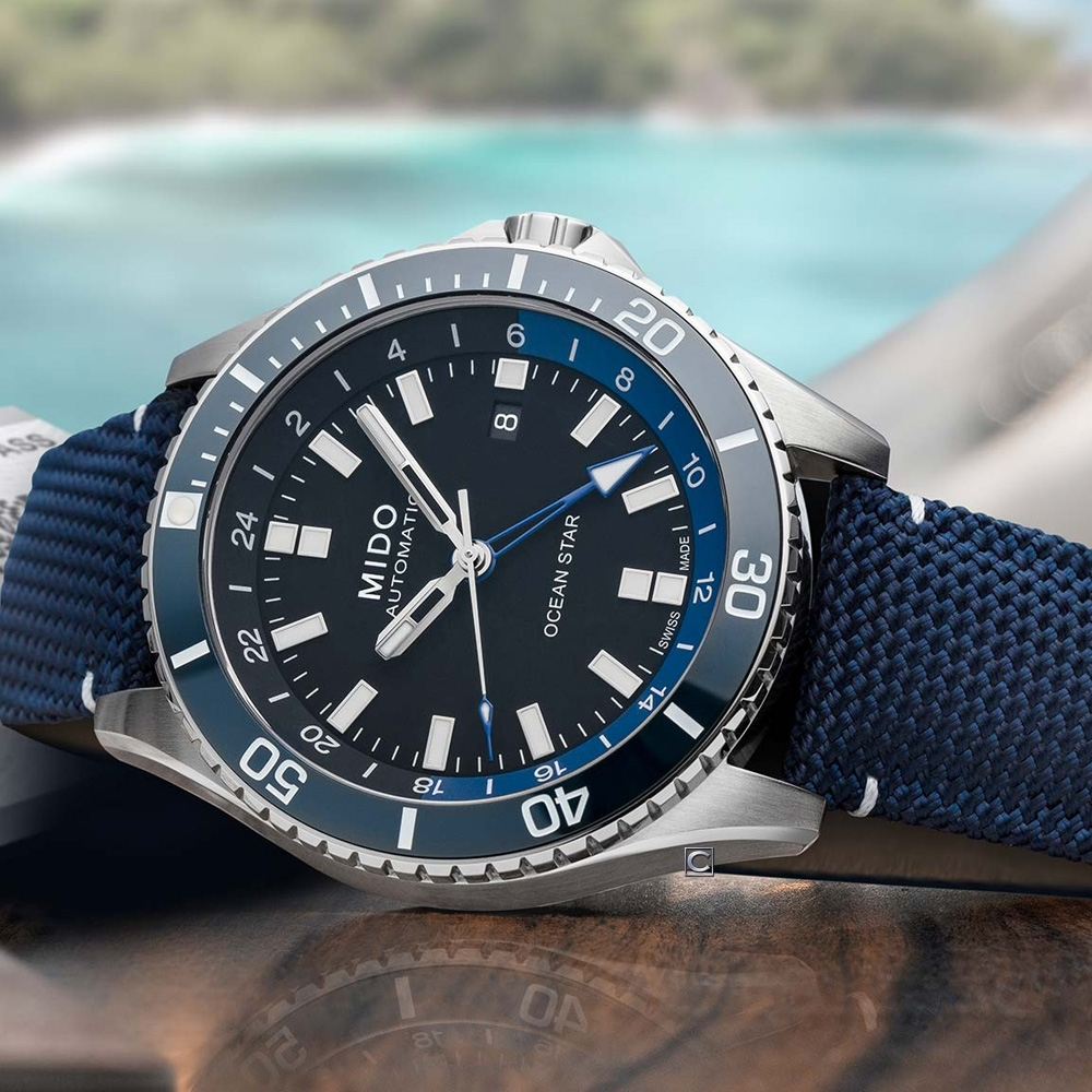 MIDO美度 Ocean Star 海洋之星 GMT雙時區 200米潛水機械錶(M0266291705100)-藍/44mm