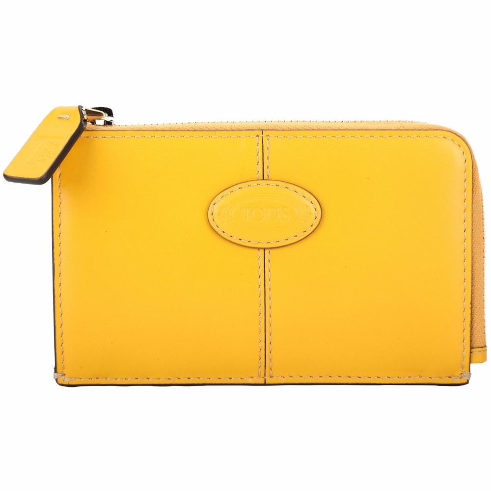TOD'S Logo 楕圓徽章鑰匙釦繩牛皮卡片夾/零錢包(黃色)