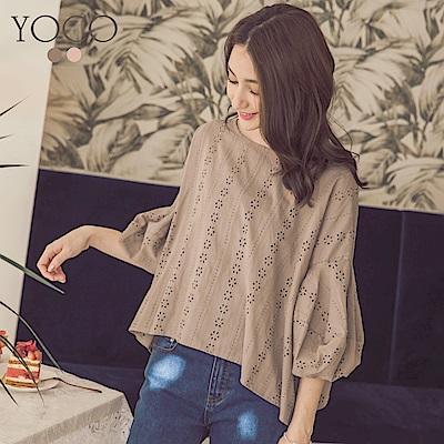 東京著衣-yoco 古典浪漫圓領泡泡袖花瓣布蕾絲上衣-S.M.L(共二色)