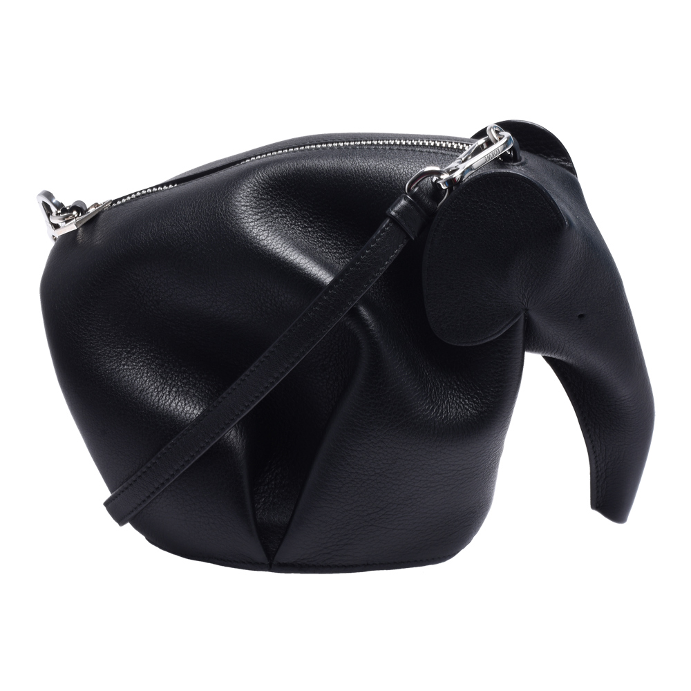 LOEWE Elephant經典品牌LOGO壓印大象造型小牛皮手拿/斜背包(黑)