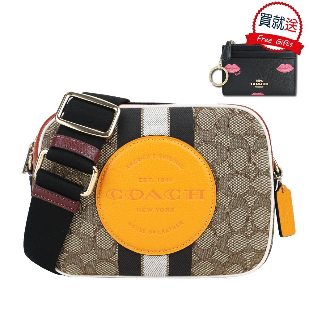 COACH 大圓標馬車條紋織布方形相機包(中/棕黃)+零錢包(黑)