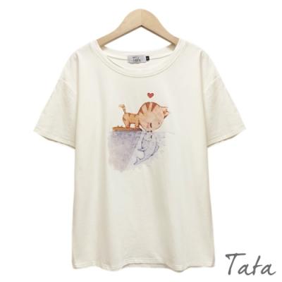 圓領貓咪小魚印花上衣 共三色 TATA-(S~L)
