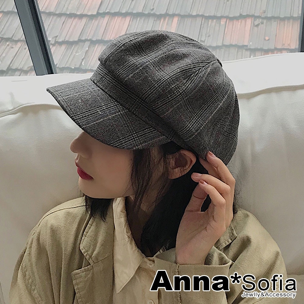 【2件75折】AnnaSofia 文藝細線格紋 混棉報童帽貝蕾帽(深灰系)