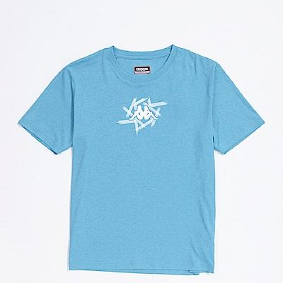 KAPPA義大利 精典型男吸濕排汗短袖衫~珊瑚藍麻304P7T0914