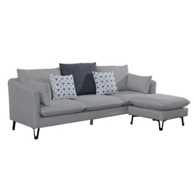文創集 倫比現代灰亞麻布獨立筒L型沙發組合(三人座+椅凳)-215x143x88cm免組