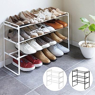 【YAMAZAKI】frame伸縮式三層鞋架(白)★鞋架/置物架/收納架