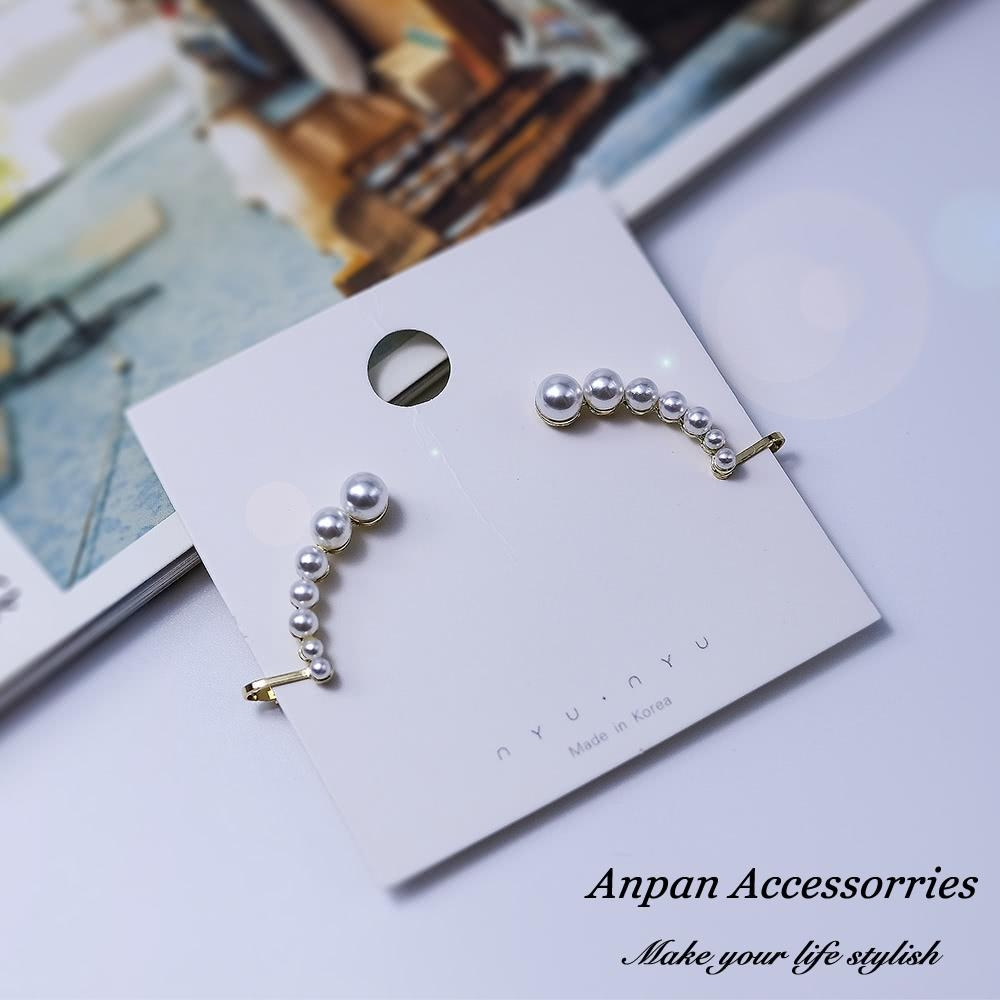 【Anpan 愛扮】韓東大門連線珍珠925銀針耳骨耳釘式耳環