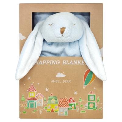 美國 Angel Dear 大頭動物嬰兒毛毯禮盒版 (藍色小兔-藍藍)