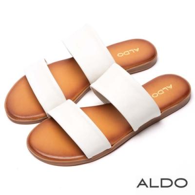 ALDO 原色真皮寬版鏤空鞋面木紋跟涼拖鞋~氣質白色