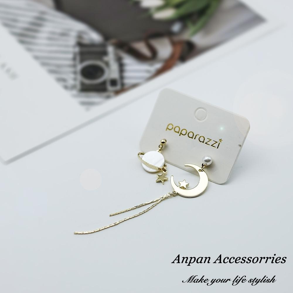 【ANPAN愛扮】韓東大門貝殼珍珠星空不對稱925銀針耳釘式耳環