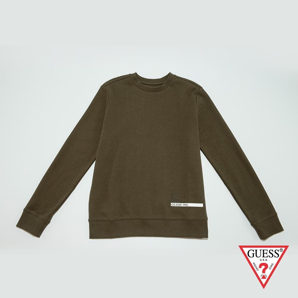 GUESS-男裝-印圖圓領長袖T恤-橄欖綠 原價2990