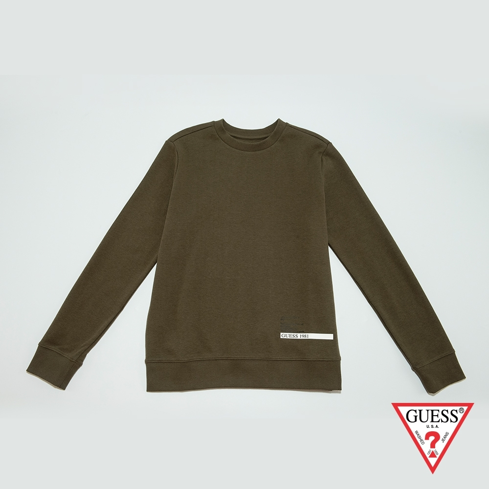 GUESS-女裝-印圖圓領長袖T恤-橄欖綠 原價2990