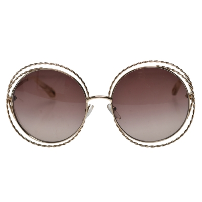 CHLOE 經典金屬圓框邊太陽眼鏡(金色)