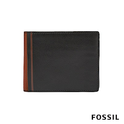 FOSSIL JEROME 撞色款證件零錢袋兩折短夾-黑/咖啡