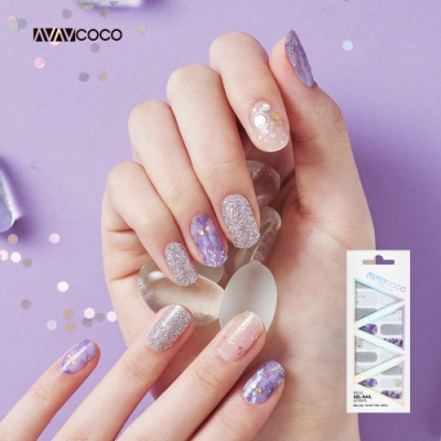 VAVACOCO 光感凝膠光療美甲貼片-紫羅蘭20片(網路款送小搓刀)