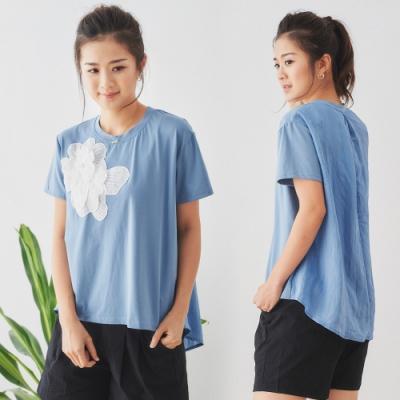 【白鵝buyer】 立體拼接花朵前短後長棉T恤_藍