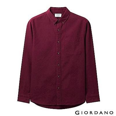 GIORDANO 男裝純棉磨毛修身單口袋長袖襯衫 -19 酒紅