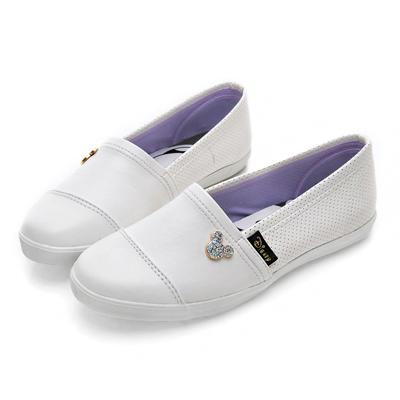 DISNEY 摩登女孩 米奇飾釦仿皮懶人鞋-白
