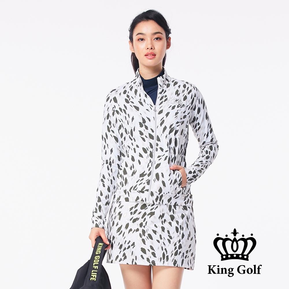 【KING GOLF】筆刷亂紋印花貼鑽長袖立領夾克外套-綠色