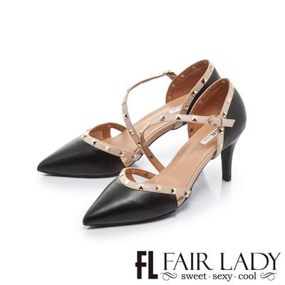 FAIR LADY  優雅小姐 尖頭繞帶鉚釘高跟涼鞋 黑