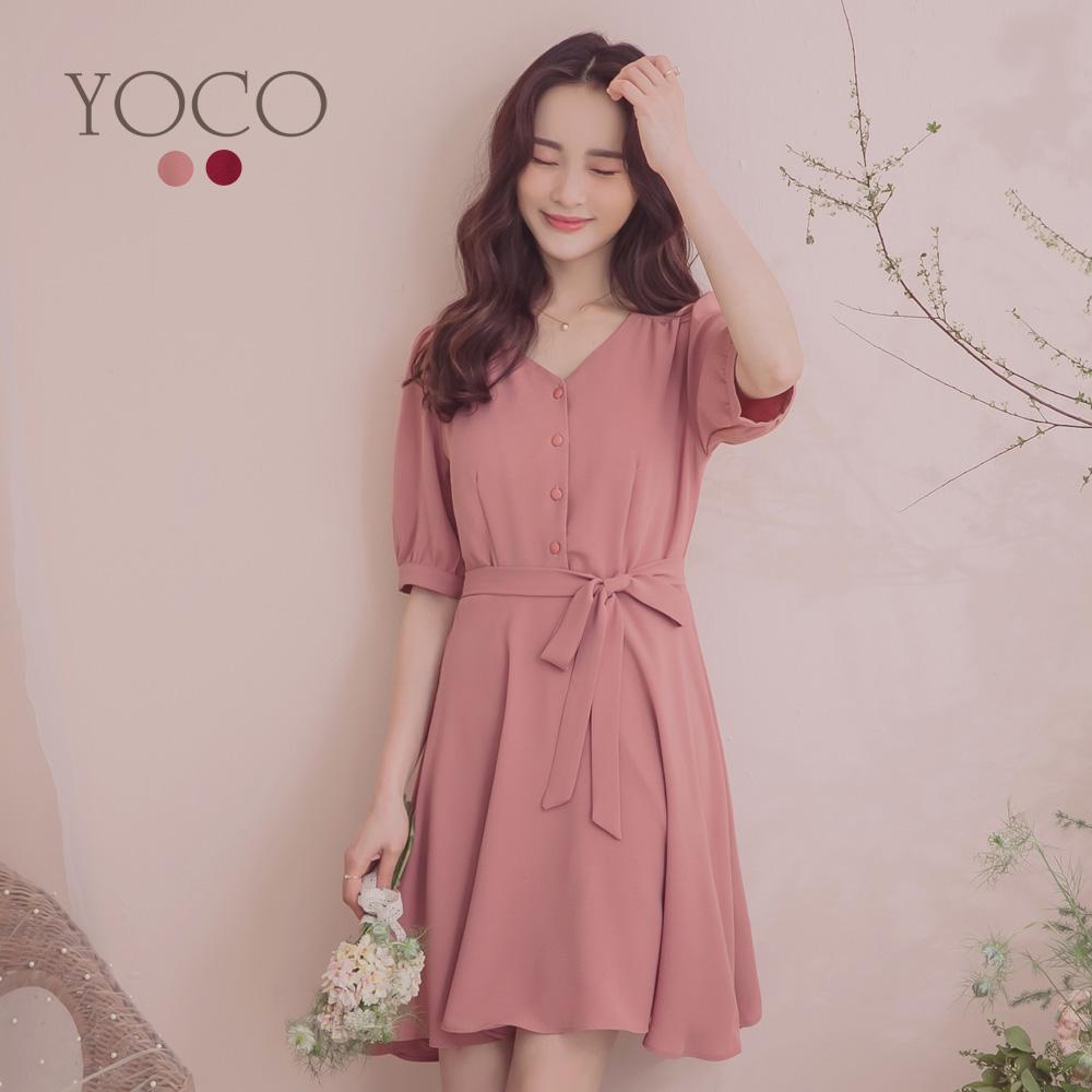 東京著衣-YOCO  溫柔典雅腰綁結公主袖洋裝-S.M.L(共兩色)