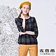 MYVEGA麥雪爾 格紋造型袖雪紡上衣-藍 product thumbnail 2