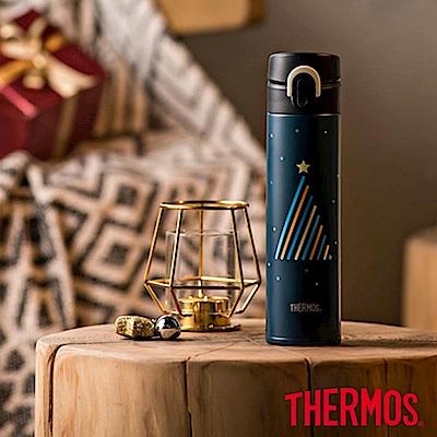THERMOS膳魔師不鏽鋼超輕量彈蓋真空保溫瓶0.4L(JNI-401CM-TBBK)