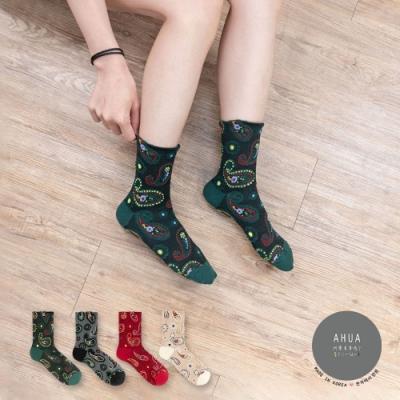 阿華有事嗎  韓國襪子 立體民族風變形蟲中筒襪 韓妞必備 正韓百搭純棉襪