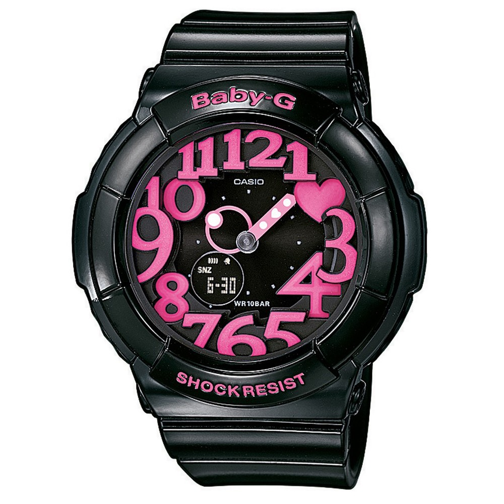 BABY-G 活潑玩味立體霓虹多彩休閒錶(BGA-130-1B)-黑/桃紅字/43.4mm