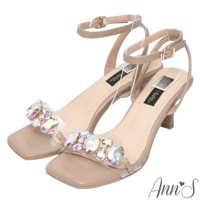 Ann'S透明彩鑽寶石方頭酒杯跟涼鞋(版型偏小)