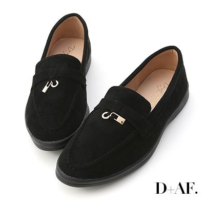 D+AF 學院典藏.迷你鎖匙絨料樂福鞋*黑