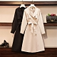 必備單品翻領腰綁帶雙排釦風衣外套L-4XL(共二色)-KVOLL
