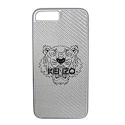 KENZO 新款金屬3D印虎頭軟膠邊I Phone 7/8 plus手機殼 (銀色)