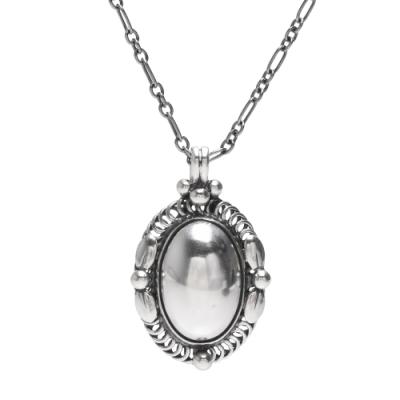GEORG JENSEN 經典Heritage系列加大版永恆之珠925氧化純銀項鍊