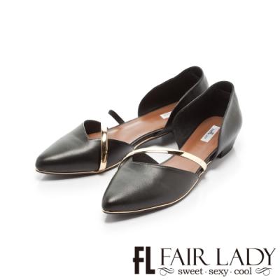 Fair Lady優雅小姐Miss Elegant金屬斜帶側挖空尖頭低跟鞋 黑